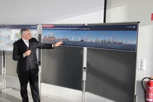 Die neue HafenCity-Wasserkante als Gesamtkomposition: der HCU Neubau zwischen den beiden roten Kreisen auf der rechten Seite