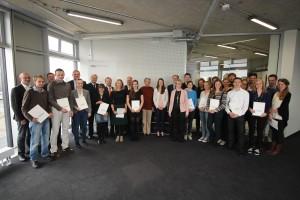Studierende mit Deutschlandstipendium, Förderer und Mitglieder des Auswahlgremiums.